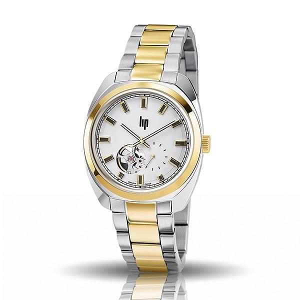 【lip】General De Gaulle法國總統時尚鋼帶機械腕錶-雙色金(大)/671340*/台灣總代理公司貨享兩年保固