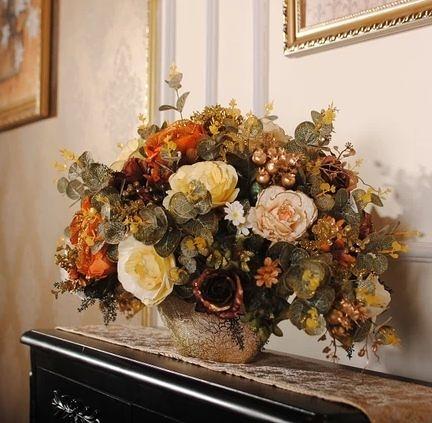 金彩咖啡色款 歐式邊櫃餐桌擺放花藝 仿真花絹花假花幹花套裝-337370092