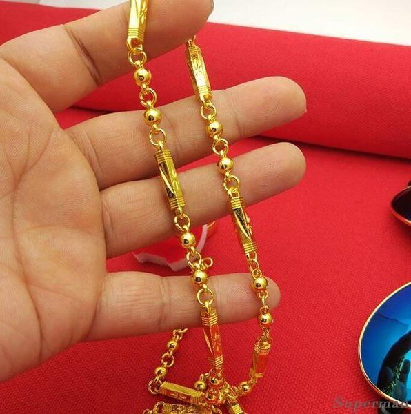 鍍金項鍊 - 正韓沙金項鍊男士仿真24k大金鍊子色 禮物 霸氣粗鍍假黃金佛珠鍊子不掉