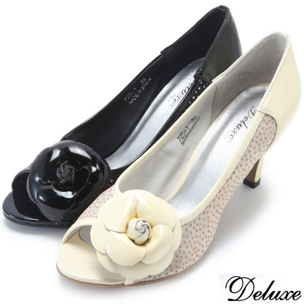 【Deluxe】全真皮微漸層網紗優雅花朵魚口跟鞋(米黃★黑)