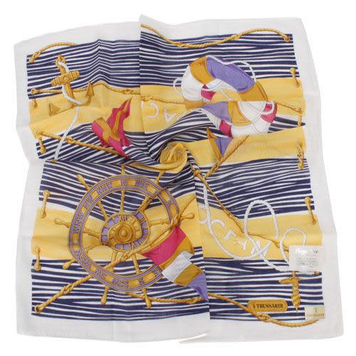 TRUSSARDI 海洋風情純棉帕巾-藍 989045-20