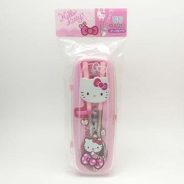 韓國 Lilfant 不鏽鋼學習筷.湯匙組附收納盒-Hello Kitty(1302) -超級BABY