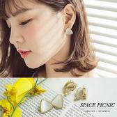 耳環 Space Picnic|現+預.純白三角造型設計耳夾/耳針【C18073006】