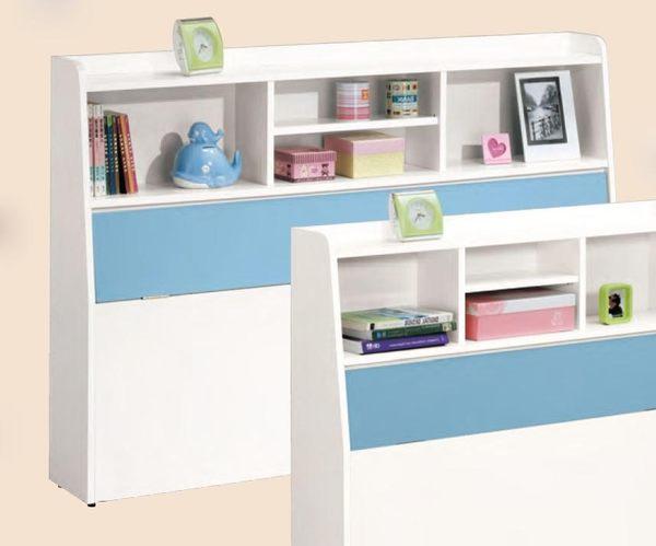 【森可家居】艾文斯5尺書架型床頭箱 7CM173-3 雙人 藍 白色 收納功能