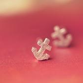 耳環 925純銀-拉絲船錨生日情人節禮物女飾品73gk74[時尚巴黎]