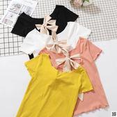 夏季新品韓版chic甜美小心機露背蝴蝶結綁帶修身短袖T恤上衣  聖誕慶免運