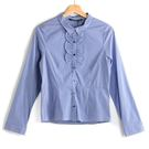 【MASTINA】細條紋荷葉邊襯衫-藍 ...