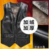 中老年男裝加絨加厚多口袋皮馬甲大碼爸爸裝秋冬季中年皮馬甲背心 千惠衣屋