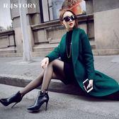 《澤米》絕美中長款羊毛呢大衣 韓國新款羊羔毛 低調奢華 墨綠 深藍 羊毛外套 西裝外套 風衣