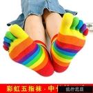 現貨2/3雙彩虹五指襪女棉質分趾襪子條紋糖果色中筒春秋防臭長筒襪男【全館免運】