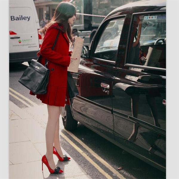 春季新款尖頭細高跟超氣質漆皮蝴蝶結淺口撞色超穩單鞋  -yrre00223