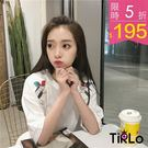 T袖 -Tirlo-甜美雙肩鳥兒刺繡短版...