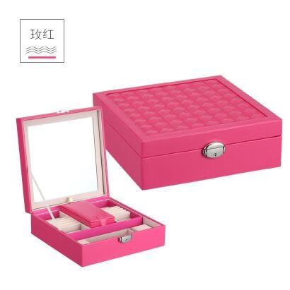首飾盒木質公主歐式韓國雙層帶鎖飾品盒首飾盒【玖紅色】
