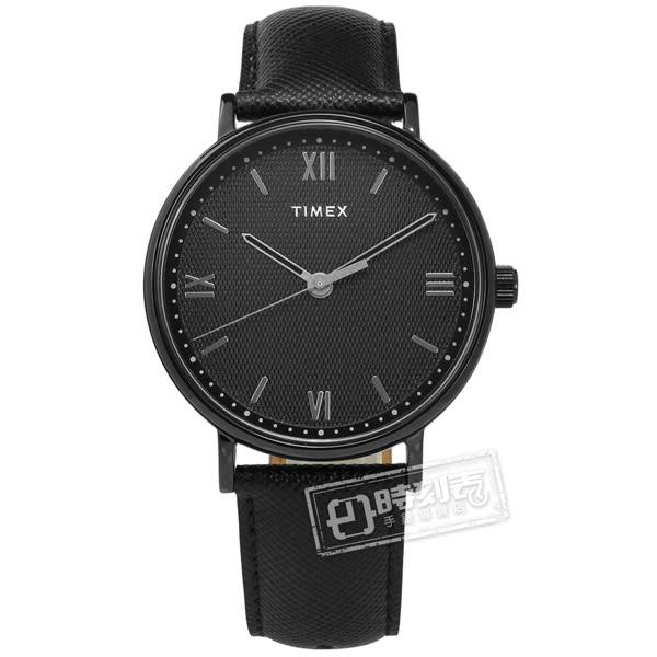 TIMEX 天美時 / TXTW2T34900 /  極簡系列 羅馬刻度 礦石強化玻璃 真皮手錶 黑色 41mm