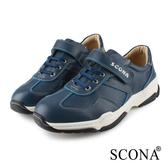 SCONA 蘇格南 全真皮 輕量高彈力黏式休閒鞋 藍色 1271-2