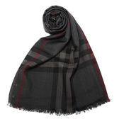 BURBERRY經典格紋羊毛絲綢圍巾(炭灰色)089513-10