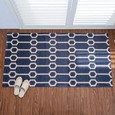 HOLA 雙層緹花編織兩用地墊 80x150cm 幾何藍