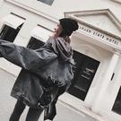 【限時下殺79折】秋季迷你外套女亮片拼接迷你秋裝正韓寬鬆港風復古牛仔外套上
