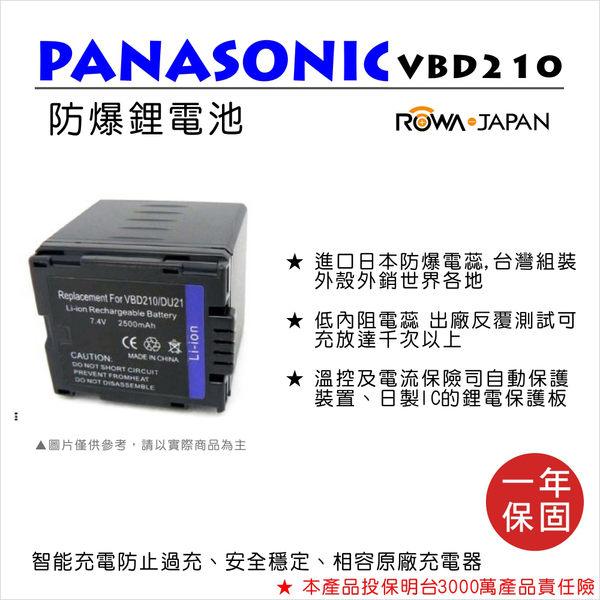 ROWA 樂華 FOR Panasonic 國際牌 VW-VBD210/DU21 VBD210 電池 外銷日本 原廠充電器可用 全新 保固一年