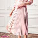 亮面質感長裙 甜美女孩必備單品 素面百褶裙 百搭必備