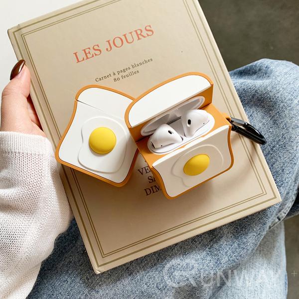 荷包蛋 土司 Airpods pro/ Airpods2 蘋果耳機 創意 可愛 矽膠保護套 防摔套 軟殼 收納盒 附掛勾