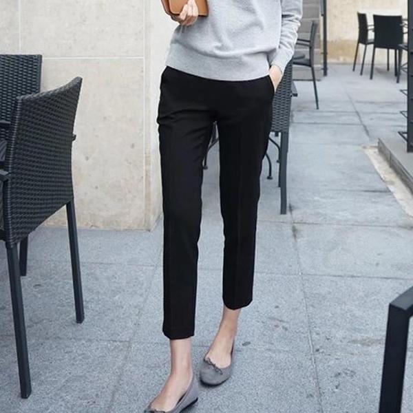 春夏款休閒煙管褲大碼寬鬆哈倫褲九分直筒職業西裝褲女工裝蘿卜褲 果果輕時尚