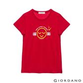 【GIORDANO】 女裝Greeting印花T恤 - 33 高貴紅