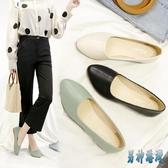 皮鞋女軟皮工作鞋女黑色淺口平底單鞋軟底職業皮鞋平跟空姐工裝女鞋 JY14612『男神港灣』