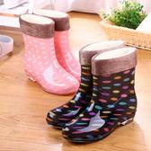 時尚加絨雨鞋女成人韓國保暖短筒可愛防滑水鞋中筒可拆卸雨靴秋冬 生日禮物 創意