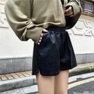 皮短褲 時尚皮褲女短褲春秋款外穿高腰小個子a字潮寬鬆寬管褲pu皮短褲-Ballet朵朵