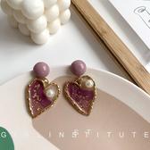 耳環 高級感復古紫色珍珠愛心金箔耳環女2020年新款潮圓臉顯瘦氣質耳墜 卡洛琳