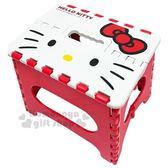 〔小禮堂〕Hello Kitty 攜帶式塑膠折疊椅《S.紅.大臉》矮凳.板凳.野餐椅 4713052-38449