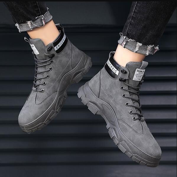 男士馬丁靴秋冬季新款男鞋中幫男工裝雪地靴子高幫潮鞋