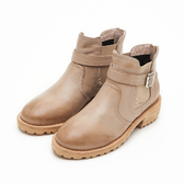 MICHELLE PARK 獨特品味 拼接皮帶拉鍊低跟短靴-卡其