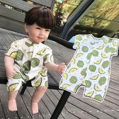 嬰兒夏天衣服寶寶短袖哈衣連衣褲薄款開襠連身衣小童裝夏3-6-9月【全館免運八五折】