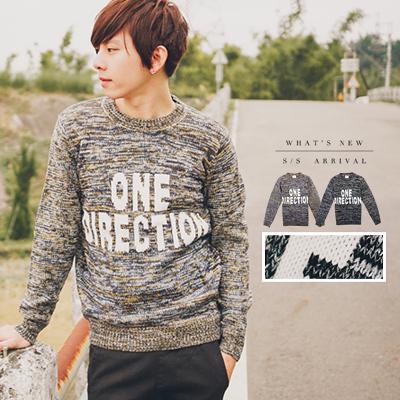 ONE DIRECTION雜花混色厚針織毛衣【N9479J】