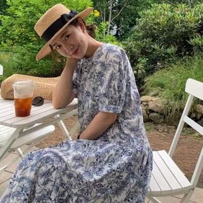 日系洋裝~長版長裙~韓式寬松過膝輕熟風連身裙#2514N515愛尚布衣
