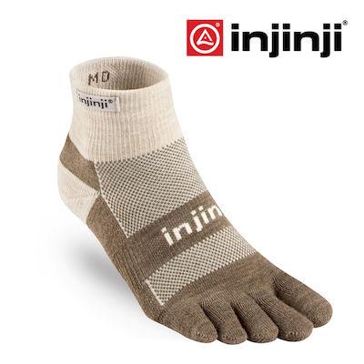 [好也戶外] injinji Outdoor戶外避震羊毛五趾短襪/深褐 No.IN171NAA7186