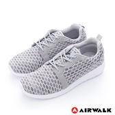 美國AIRWALK  比麗 蜂巢式格紋洞洞休閒慢跑鞋 - 男灰