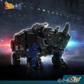 拼裝玩具 藍盔甲 犀牛變形玩具拼裝模型男孩手辦機甲 洛小仙女鞋