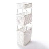 日本 Like-it [窄款]可堆疊含蓋收納籃 洗衣籃(三層組)-白色