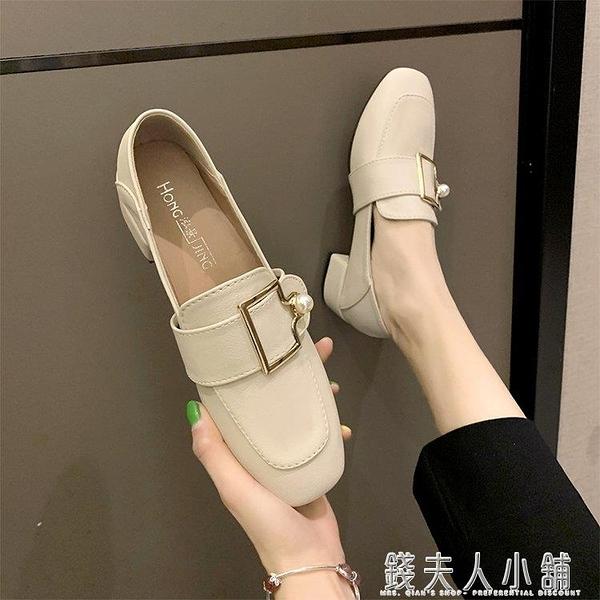 女鞋新款秋款粗跟單鞋女高跟鞋百搭樂福鞋英倫中跟秋鞋小皮鞋 夏季特惠