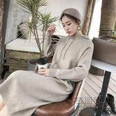 秋冬女裝針織洋裝中長款長袖連帽衛衣裙子慵懶風寬松毛衣裙長裙igo 衣櫥秘密