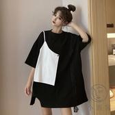短袖T恤女大碼女裝假兩件款寬鬆上衣【小酒窩服飾】