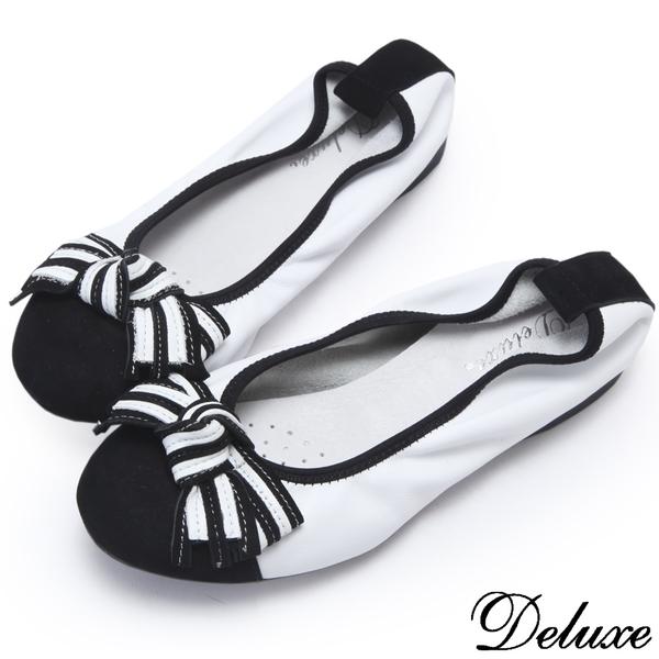 【Deluxe】全真皮可愛海軍風條紋蝴蝶結娃娃鞋(黑)
