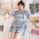 睡衣冰絲睡衣薄款短袖韓版可愛絲綢兩件套裝家居服