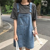 夏2019正韓新款寬鬆大尺碼胖mm牛仔背帶裙顯瘦a字半身裙女吊帶短裙 S-5XL