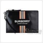 BURBERRY白字LOGO滑面帆布條紋印花設計手拿包(黑)
