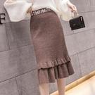 針織半身裙針織半身裙女2020秋新款韓版百搭高腰中長款魚尾顯瘦荷葉邊包臀裙 衣間迷你屋