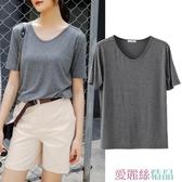 短袖T恤 短袖女2020年新款夏季寬鬆上衣大碼莫代爾T恤學生v領半袖打底衫 愛麗絲